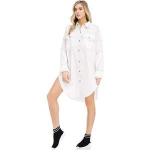 TOV Button Front Frayed Chiffon Shirt Dress Sz M